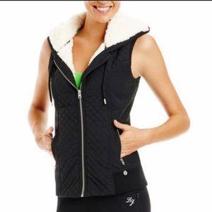 Lorna Jane black Sherpa hoodie aviator vest